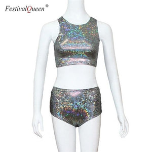 holographic crop top women 2 piece sets fetival rave clothes wearuotelab-uotelab