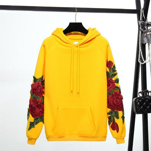Fall Winter Clothing Fleece Sweatshirt 2018 New Women Fashion Rose Flower Spliceuotelab-uotelab