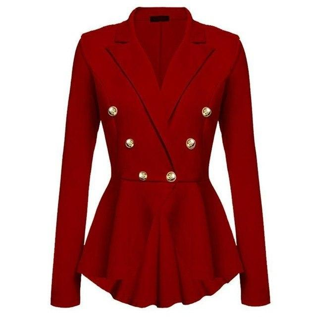 2017 Women Double Breasted Gold Button Military Blazer Ladies Coat Formal Jacketuotelab-uotelab