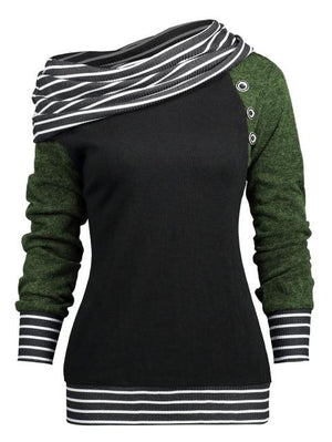 Spring Autumn Stripe Patchwork Women Sweatshirts 5 Colors Long Sleeves Casualuotelab-uotelab