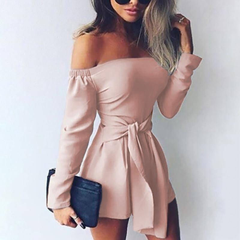 Rompers Womens Jumpsuit 2018 Autumn Playsuits Sexy Off Shoulder Slah Neck Casualuotelab-uotelab