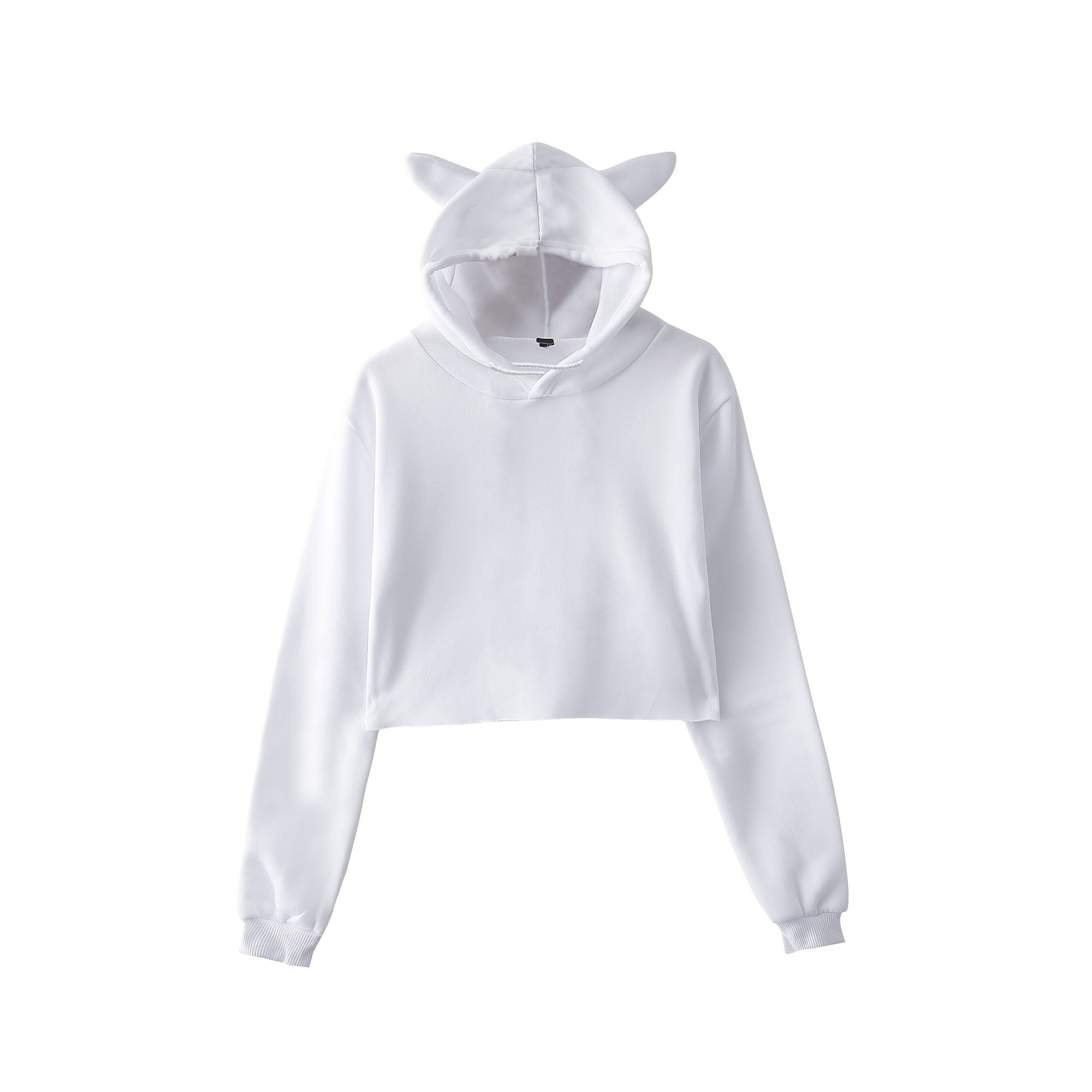 BTS Cute Cropped Hoodies Kawaii Womens Sweatshirts Hoodie Crop Tops Solid Catuotelab-uotelab