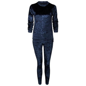 Velvet tracksuit women fashion long sleeve top+pant 2018 autumn women clothinguotelab-uotelab