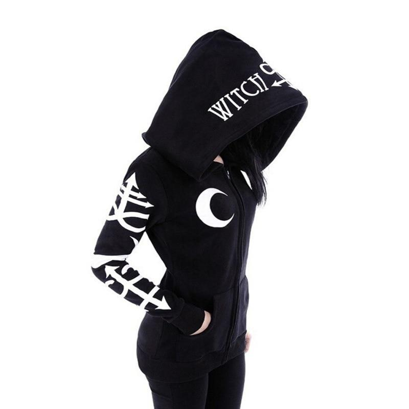 Women's Witchcraft Hooded Long Sleeve Gothic Witch Moon Women Oversized Hoodie Sweatshirtuotelab-uotelab