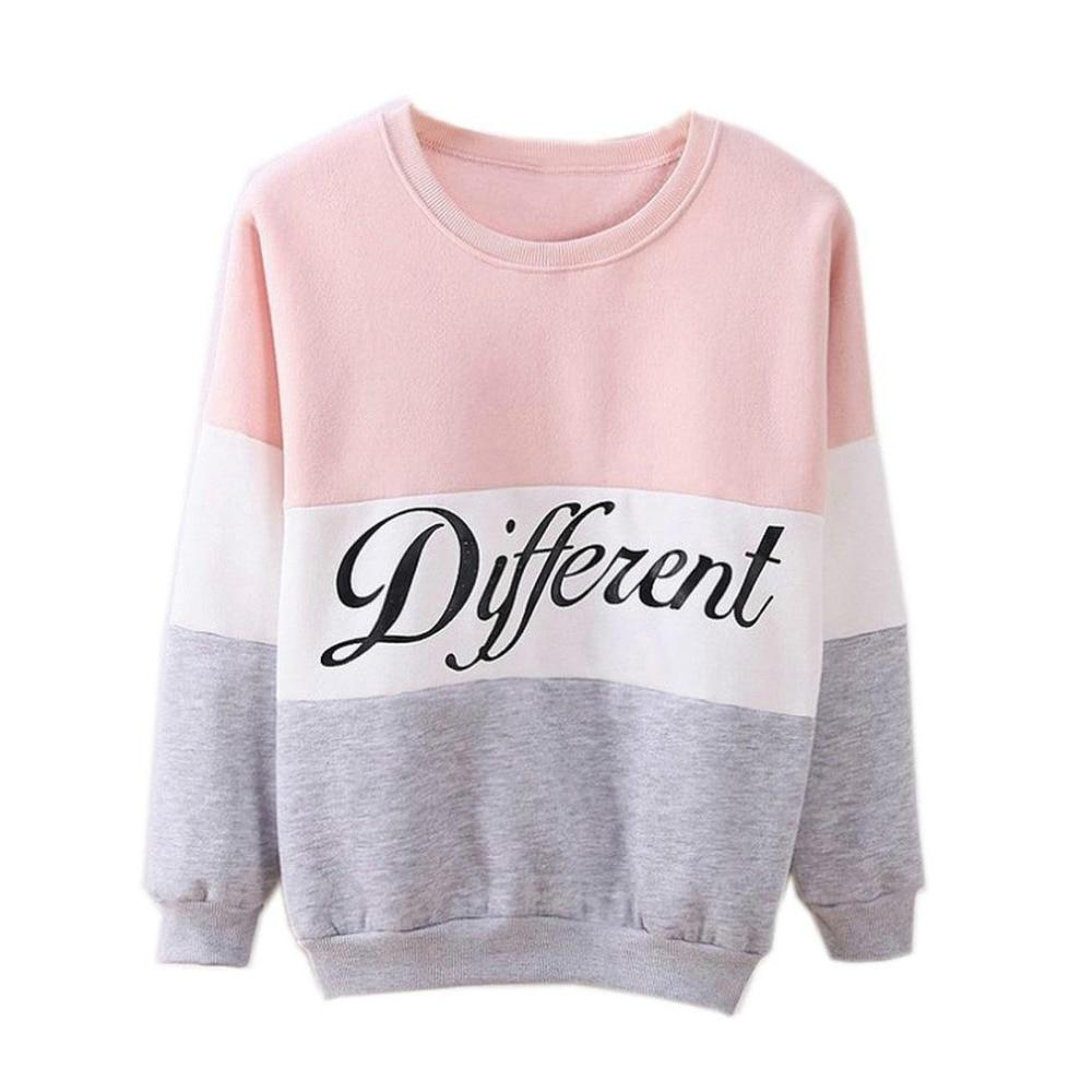 Hot Women's Letters Printed Different Mix Casual Loose Sweater Pulloveruotelab-uotelab
