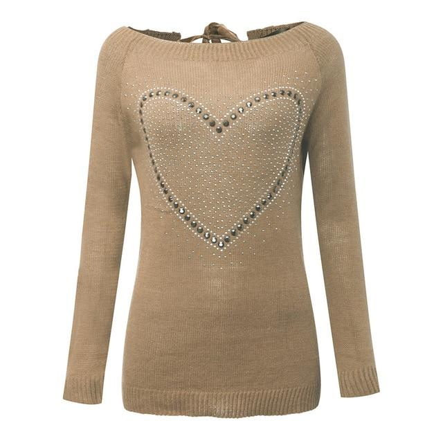 2018 Autumn Sexy Women Sweaters Hollow Halter Sweet Heart Jumpers Casualuotelab-uotelab