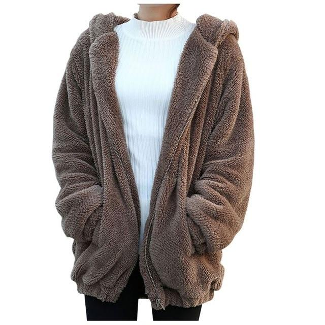 2018 Women Hoodies Zipper Girl Winter Loose Fluffy Bear Ear Hoodie Hoodeduotelab-uotelab