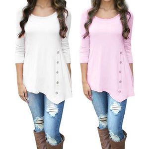 2018 New Fashion Women Long Sleeve Loose Button Trim Blouse solid coloruotelab-uotelab