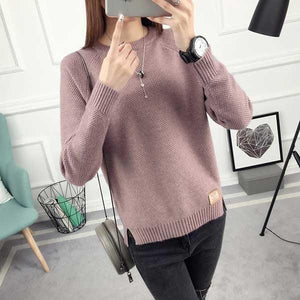 2018 Spring Fashion Women Character Beading Long Sleeve Pure Color Knitting Sweateruotelab-uotelab