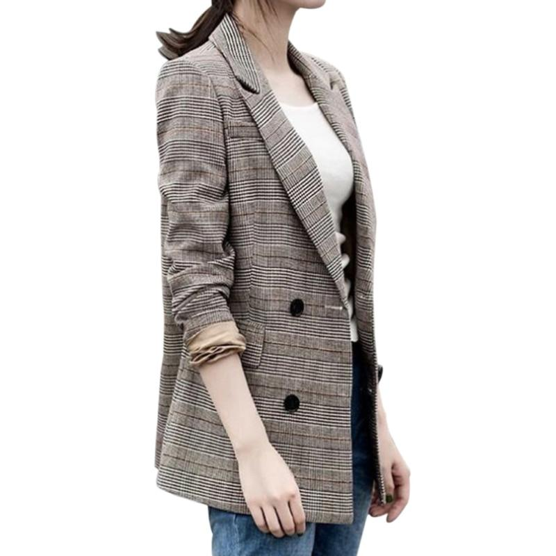 Blazer Woman Plaid Print Full Sleeve Office Lady Notched Button Casual Womenuotelab-uotelab
