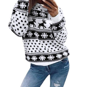 2018 Winter Women Sweater Christmas Red deer and maple leaf pattern Snowflakeuotelab-uotelab