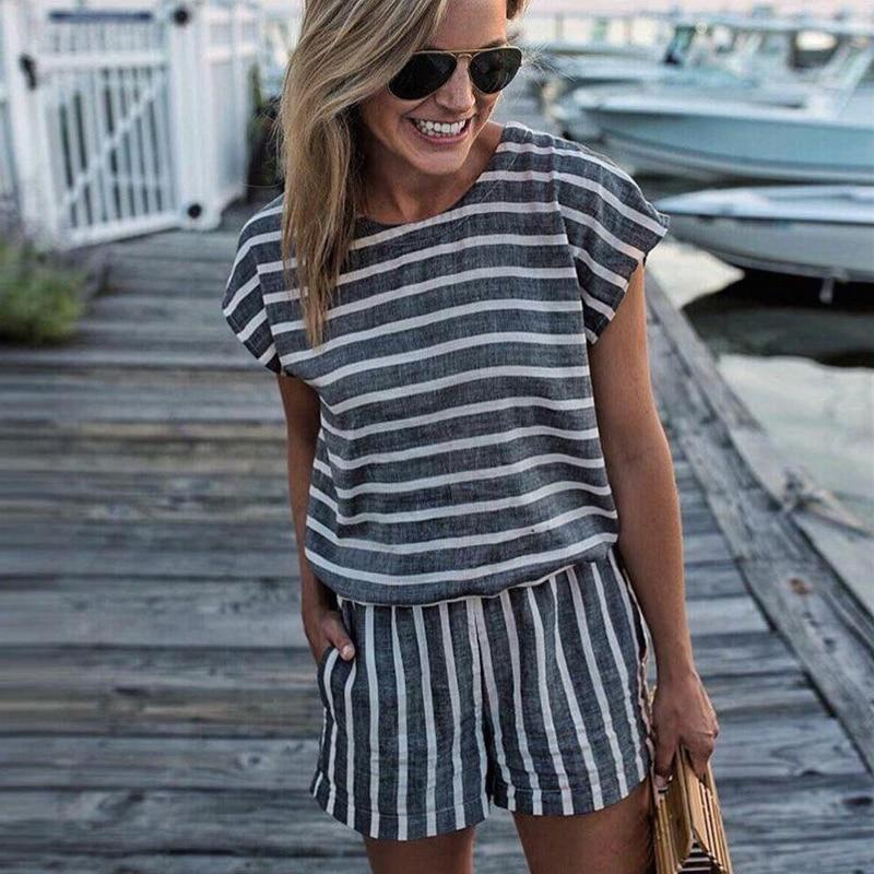 Short Sleeve Striped Losse Casual Summer Rompers Womens Jumpsuit Short 2018uotelab-uotelab