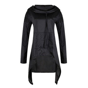 SALE Women Oversized Long Hoodies Tops Asymmetric Drawstring Long Sleeve Hooded Sweatshirtuotelab-uotelab