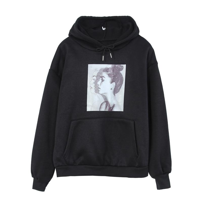 2018 Autumn Winter Casual Fleece Women Hoodies Sweatshirts Long Sleeve Black Girluotelab-uotelab
