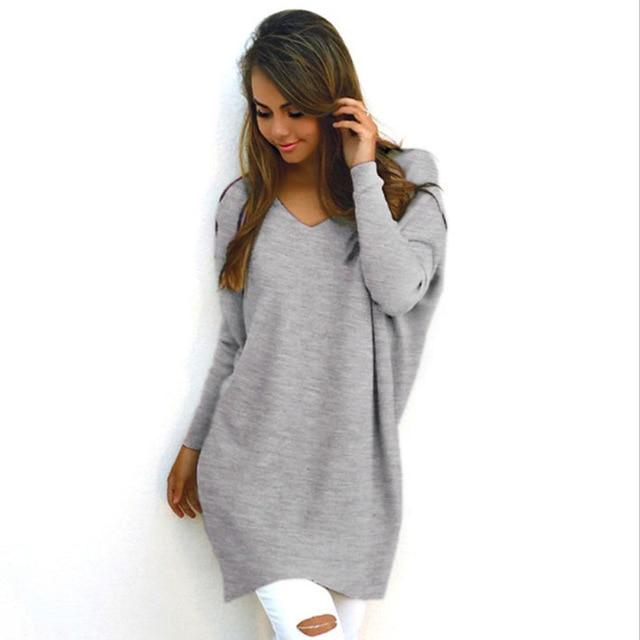 V Neck Women Sweaters Fashion Autumn Winte Sweater 2018 Hot Women Looseuotelab-uotelab