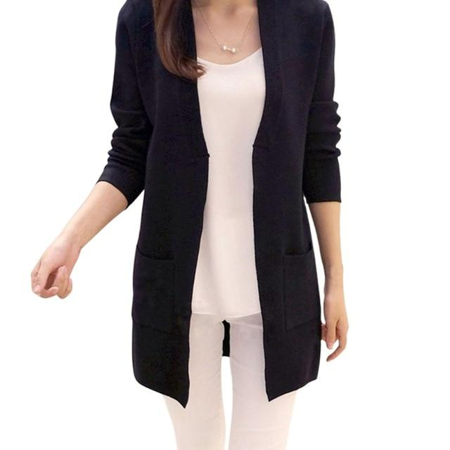 Women Autumn Solid Long Cardigan V Neck Lady Slim Pocket Loose Knituotelab-uotelab