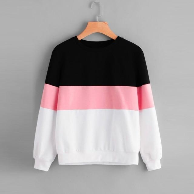 FeiTong Women Hoodies Long Sleeves Three Tone Pullover Top Sweatshirt 2018 Autumnuotelab-uotelab