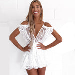 Brazilian Beach Jumpsuit Women Sexy Deep V-Neck Transparent Lace Jumpsuits Summer Romperuotelab-uotelab