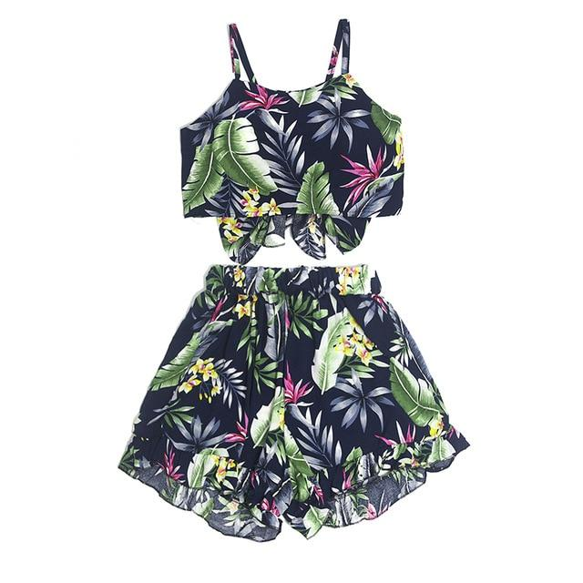 Crop Top Short 2 Piece Sets Women Floral Printed Sleeveless Sexy Twouotelab-uotelab