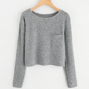 Simple Solid Gray Pocket Pullover Women Autumn Hoodies Tops Spring 2018 Ladiesuotelab-uotelab
