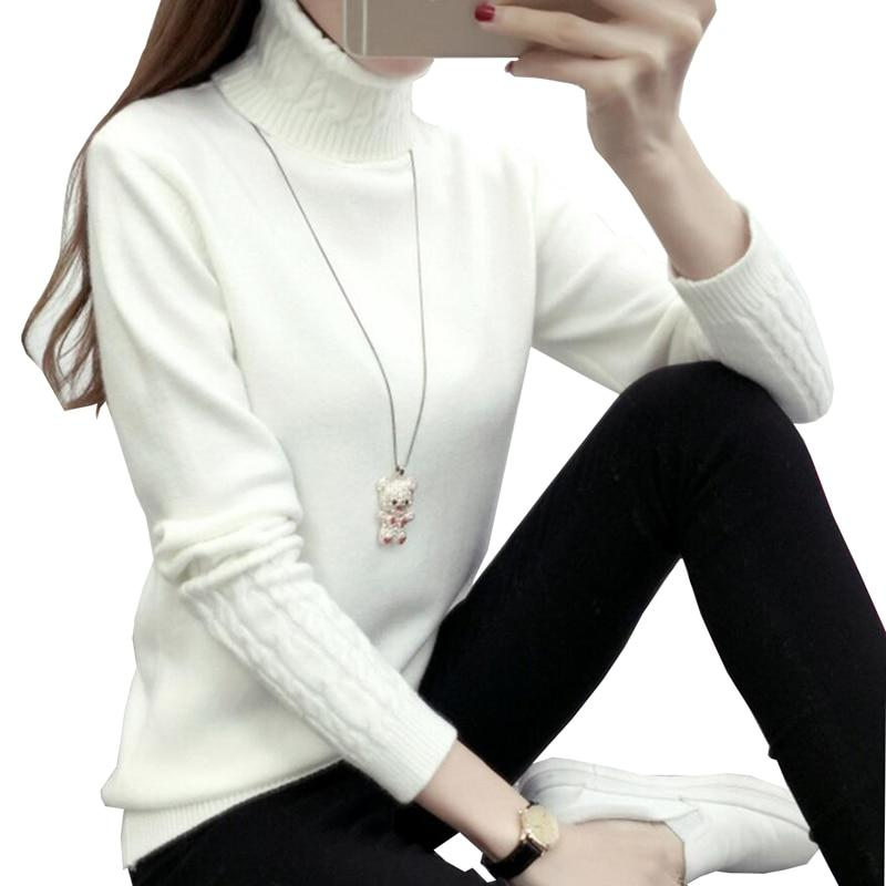 Women Sweaters And Pullovers Autumn Winter Turtleneck Long Sleeve Pull Femme Whiteuotelab-uotelab