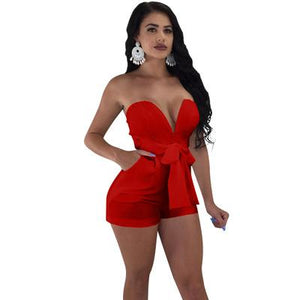 Sexy Strapless Women Summer Playsuits Bodycon Off Shoulder Female Romper Solid Coloruotelab-uotelab