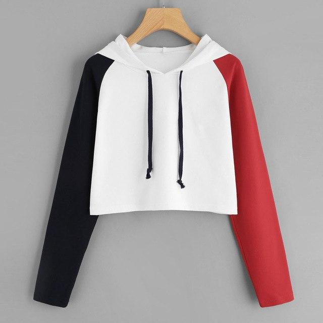 Womens Patchwork Long Sleeve Hoodie Sweatshirt Casual Hooded Pullover Tops Blouse Topuotelab-uotelab