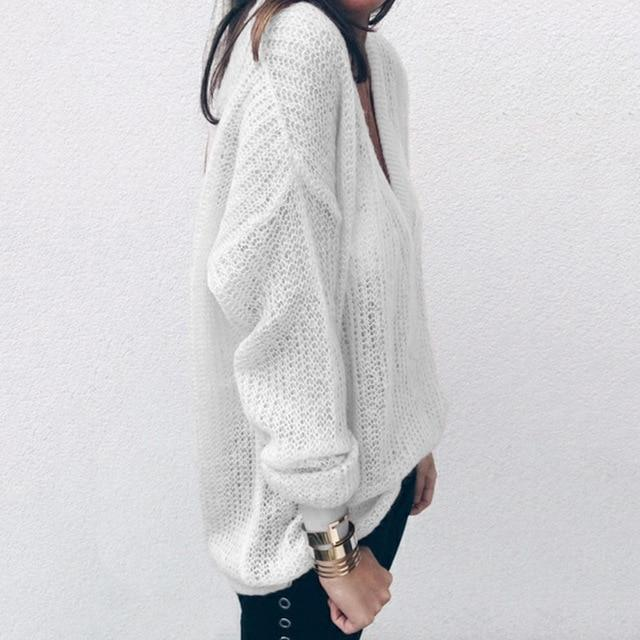 new style autumn women deep v neck knitted sweater tops casual oversizeuotelab-uotelab