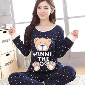 Autumn Winter Pajama Sets Women's Cartoon Print Long Sleeves Pajama Sweet Cuteuotelab-uotelab