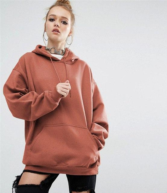 S-5xl Autumn/winter New Loose Pure Color Hooded Bat-sleeved Hoodies Women Long Sleeveuotelab-uotelab
