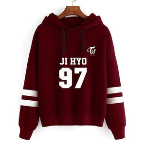 Harajuku Fashion Striped Tops TWICE Hoodies Sweatshirts Long Sleeve Casual Hooded Pulloversuotelab-uotelab