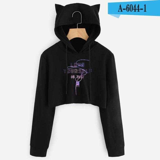 Kawaii BTS Album Love Yourself Crop Tops hoodie Fake Love Kpop Longuotelab-uotelab