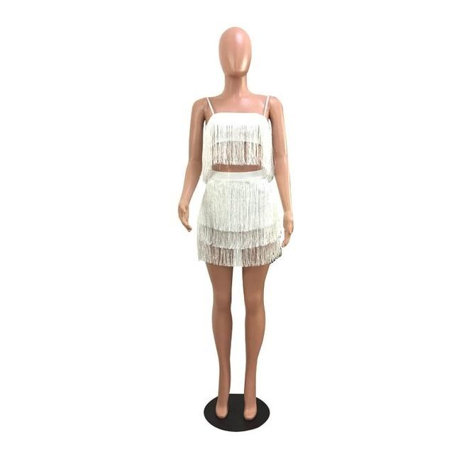 2018 Summer Vintage Tiered Tassel Fringe Crop Top& Mini Skirt Bodycon Clubuotelab-uotelab