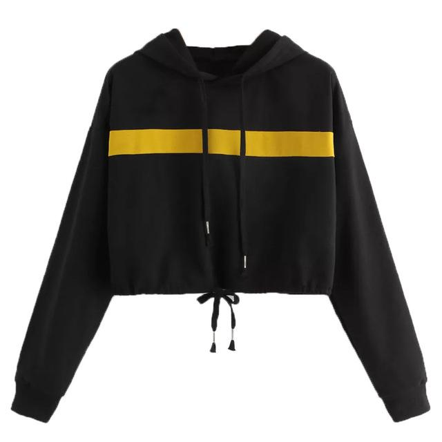 Feitong Women Sweatshirt Casual Rope Pulling Splicing Caps Jumper Cropped Hoodie Blackuotelab-uotelab