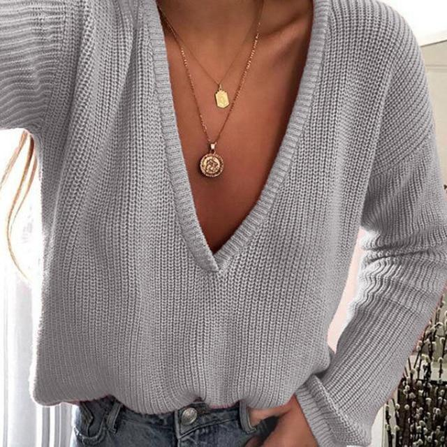 Fashion Women Casual Deep V Neck Knitted Sweater Jumper Tops Long Sleeveuotelab-uotelab