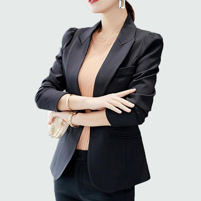Women Blazer 2018 New Autumn Blazer Femme Long Sleeve Single Button 6uotelab-uotelab