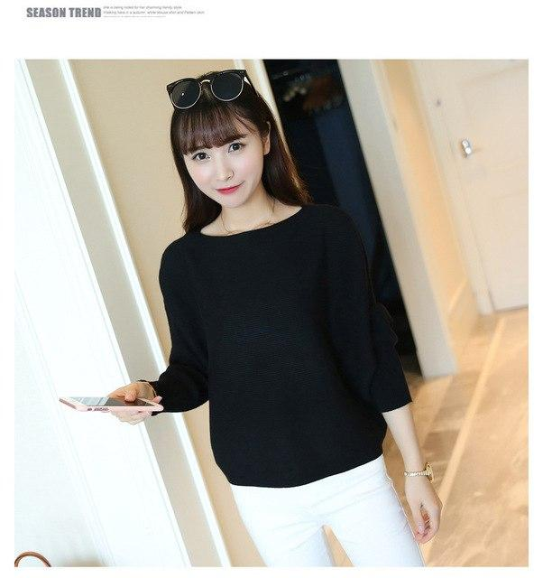 women sweaters and pullovers knitted bat sleeve ribbed sweaters for women 2018uotelab-uotelab
