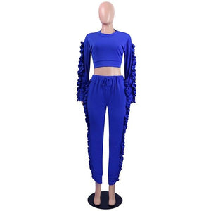 2017 New Fashion 2 Piece Clothing Set Women zipper pocket top Pantsuotelab-uotelab