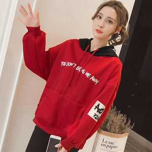 Hoodies Women 2018 Women Fashion Sweatshirts Long Sleeve Hoodies Print Letter Femaleuotelab-uotelab