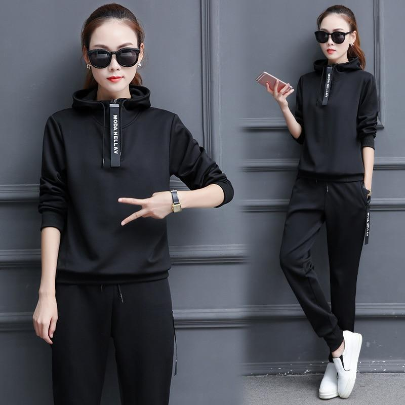 Women Tracksuits Sportswear Casual Hoodies Pants Two Pieces Female Sweatshirts Spring Autumnuotelab-uotelab