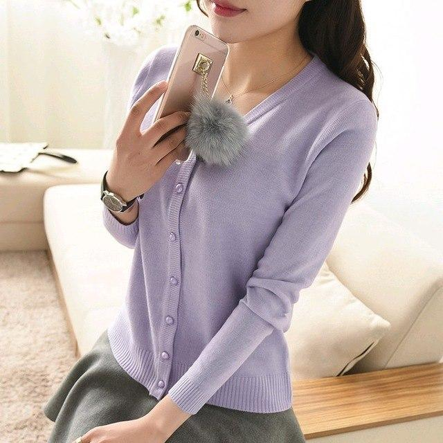 New 2018 in spring and Autumn Sweater Cardigan Long sleeves V outuotelab-uotelab