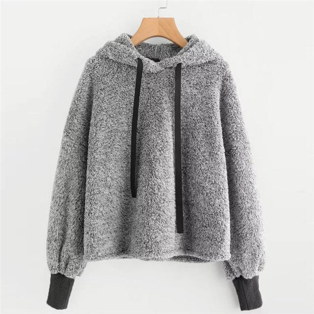 Womens Sweatshirt Faux Fur Crop Tops Blouse Long Sleeve Sweatshirt Faux Furuotelab-uotelab