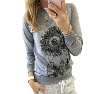 2018 Autumn Women Sweatshirt Casual Long Sleeve O Neck Print Pullover Jumperuotelab-uotelab