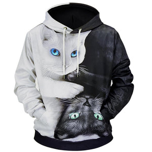 Cartoon Blend hoodies 3D Printed Cat oversize Mens women's Sweatshirt Pulloveruotelab-uotelab