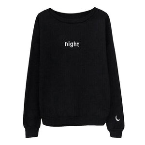 Women Day Night Letter Hoodies Harajuku Sun Moon Printed Sweatshirt Top Fashionuotelab-uotelab