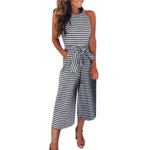 Women Sleeveless Striped Jumpsuit Casual Clubwear Wide Leg Pants Outfit Sleeveless Women'uotelab-uotelab