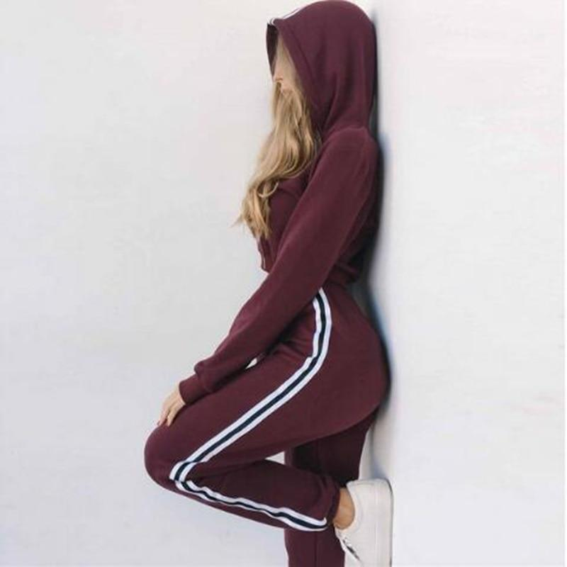 Women's Tracksuits 2 Piece Set Pink Crop Top And Pants Fashion Autumnuotelab-uotelab