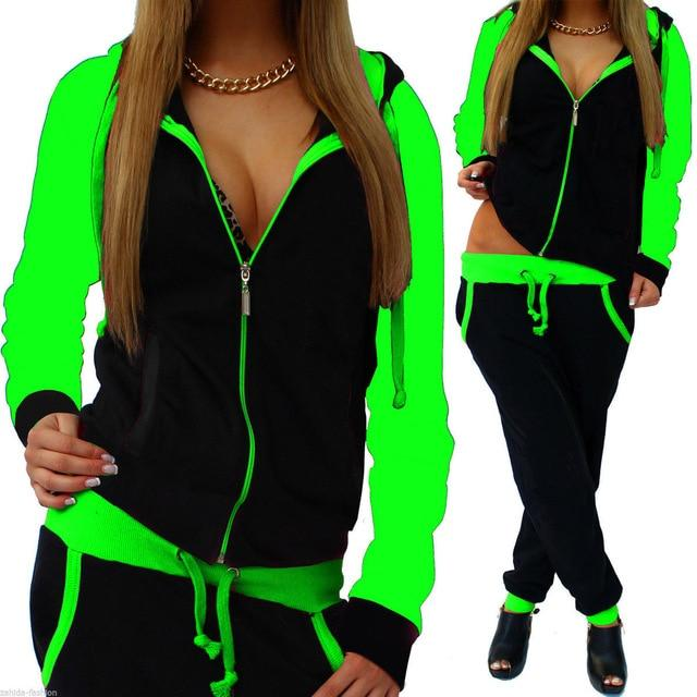 New Women Sportswear Autumn Warm Tracksuit Two Piece Set Contrast Coloruotelab-uotelab