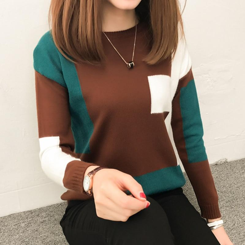 Women O-neck Pullover Sweater 2018 Autumn Winter New patchwork colorful Knitted Sweateruotelab-uotelab