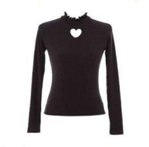 Adomo Soft Sister Love Heart Hollow out Sexy Bottoming Shirt Knitted Sweatersuotelab-uotelab